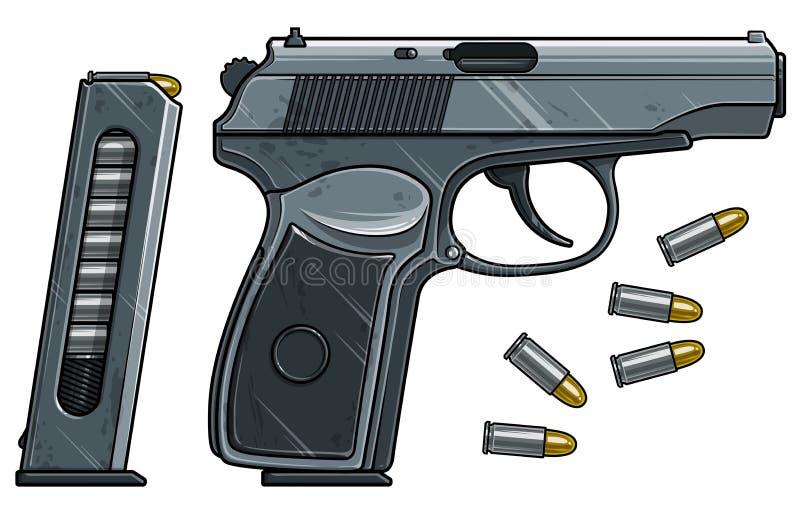 Pistola detalhada gr?fica do rev?lver com grampo da muni??o ilustração royalty free