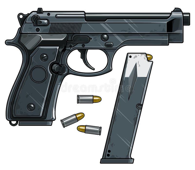 Pistola detallada gr?fica de la arma de mano con el clip de la munici?n stock de ilustración