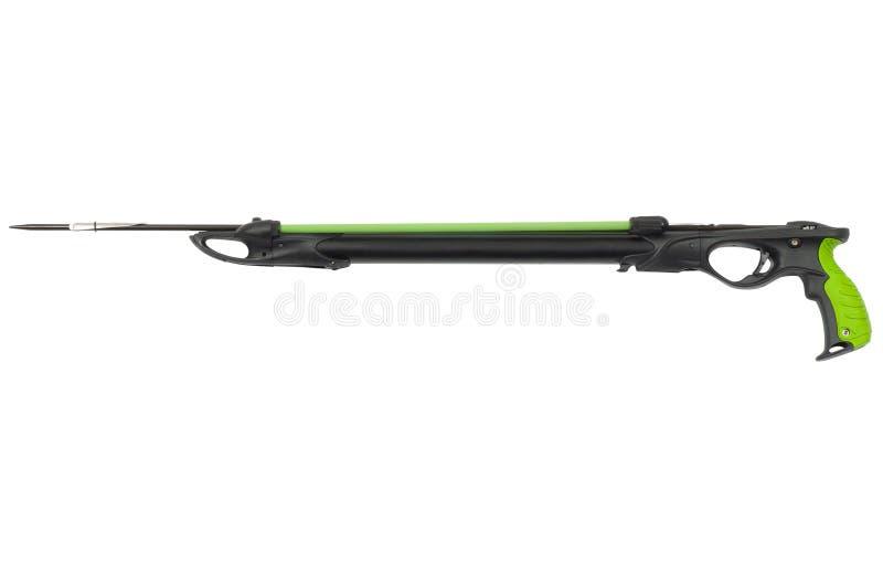 Pistola di arpone subacquea lunga isolata su fondo bianco fotografia stock