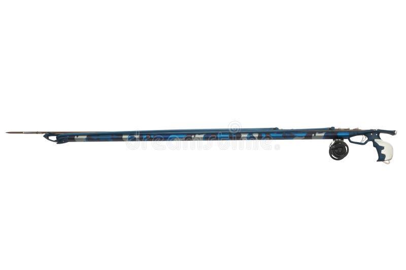 Pistola di arpone subacquea lunga isolata su fondo bianco immagini stock libere da diritti