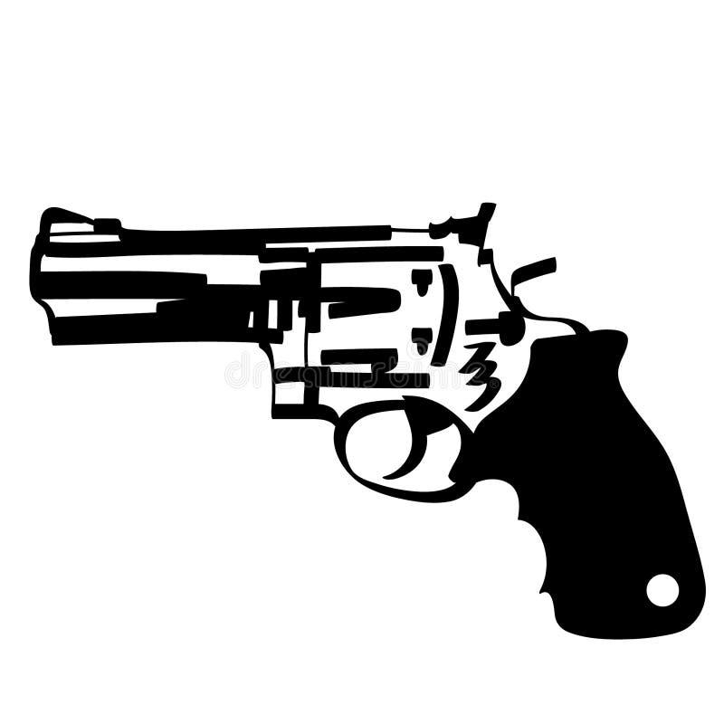 Pistola disegnata a mano, vettore, ENV, logo, icona, crafteroks, illustrazione del revolver della siluetta per gli usi differenti illustrazione vettoriale