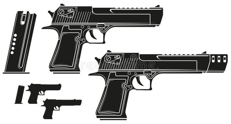 Pistola gráfica do revólver da silhueta com grampo da munição ilustração stock