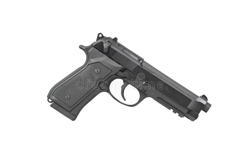 Pistola M9 Carry Isolated militar en la derecha blanca del fondo imagenes de archivo