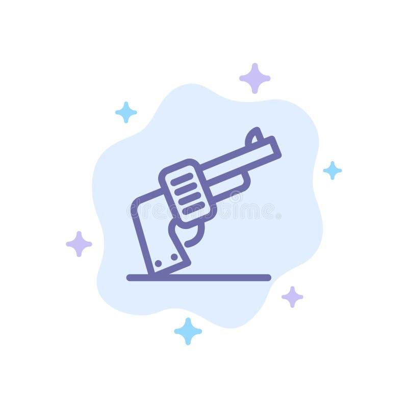Pistola, mano, arma, icona blu americana sul fondo astratto della nuvola illustrazione di stock