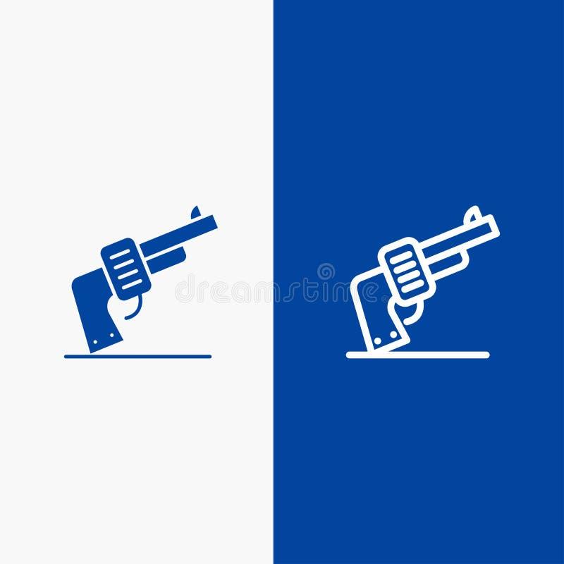 Pistola, mano, arma, insegna blu di insegna dell'icona solida americana di glifo e della linea dell'icona solida blu della linea  illustrazione di stock