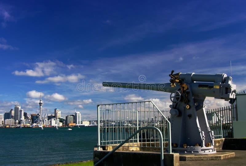 Pistola navale Auckland fotografia stock