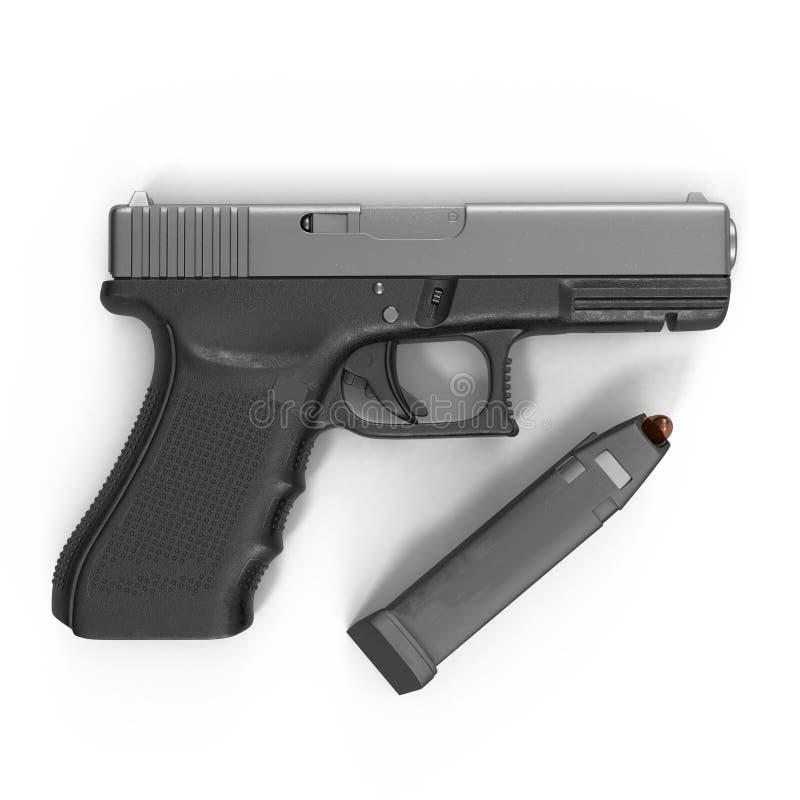 Pistola negra automática con la munición en blanco ilustración 3D ilustración del vector