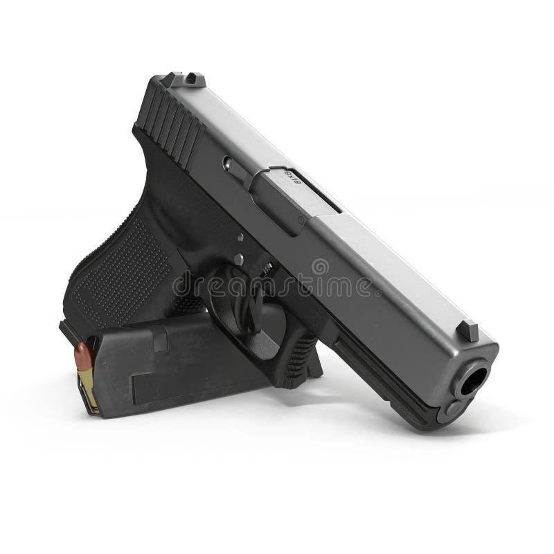 Pistola nera automatica con munizioni su bianco illustrazione 3D illustrazione di stock