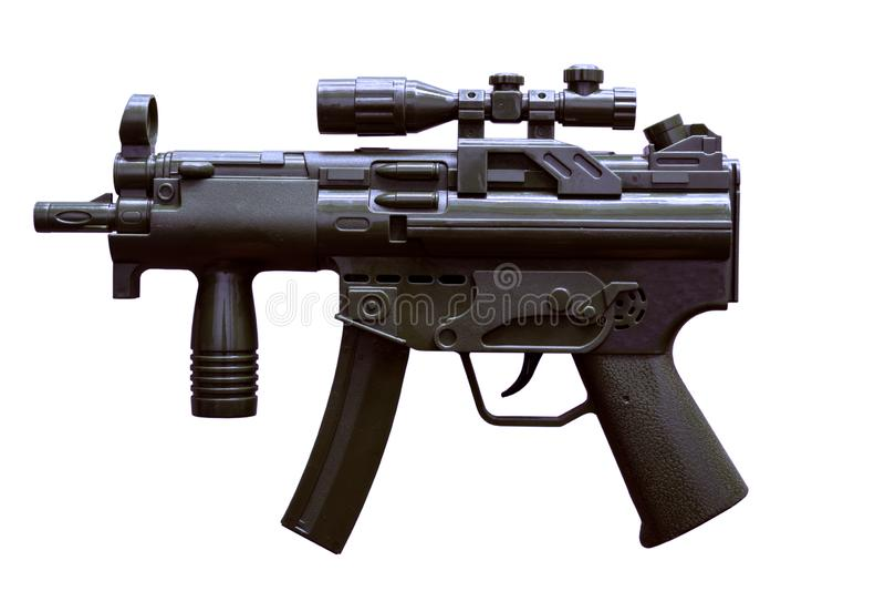 Pistola nera del giocattolo della macchina di colore con fondo bianco fotografia stock