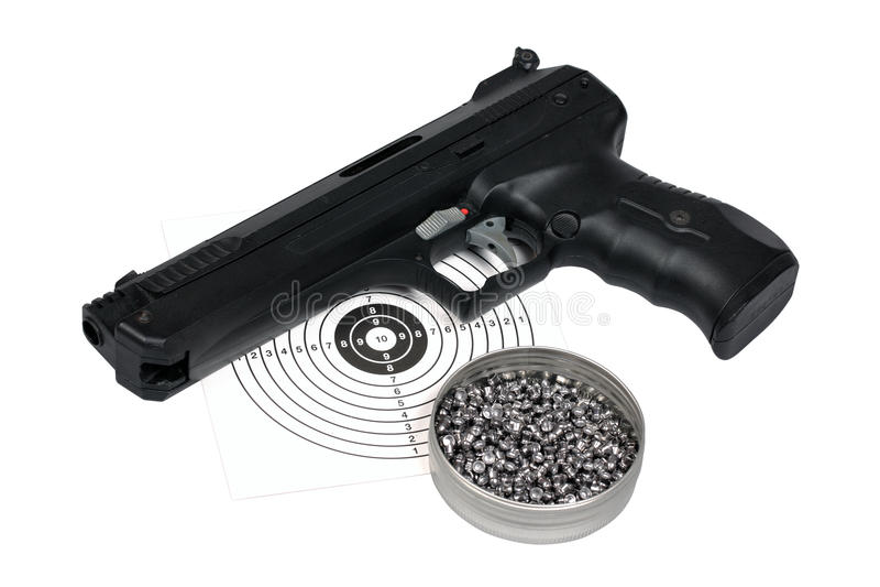 Pistola pneumática com arma-protetor e pelotas na caixa fotografia de stock royalty free