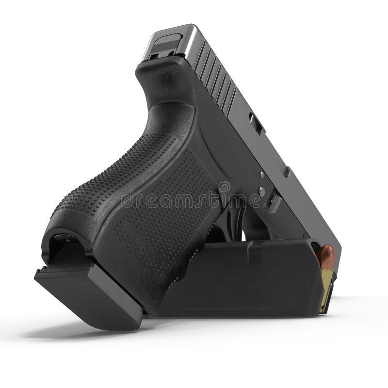 Pistola preta automática com munição no branco ilustração 3D ilustração do vetor
