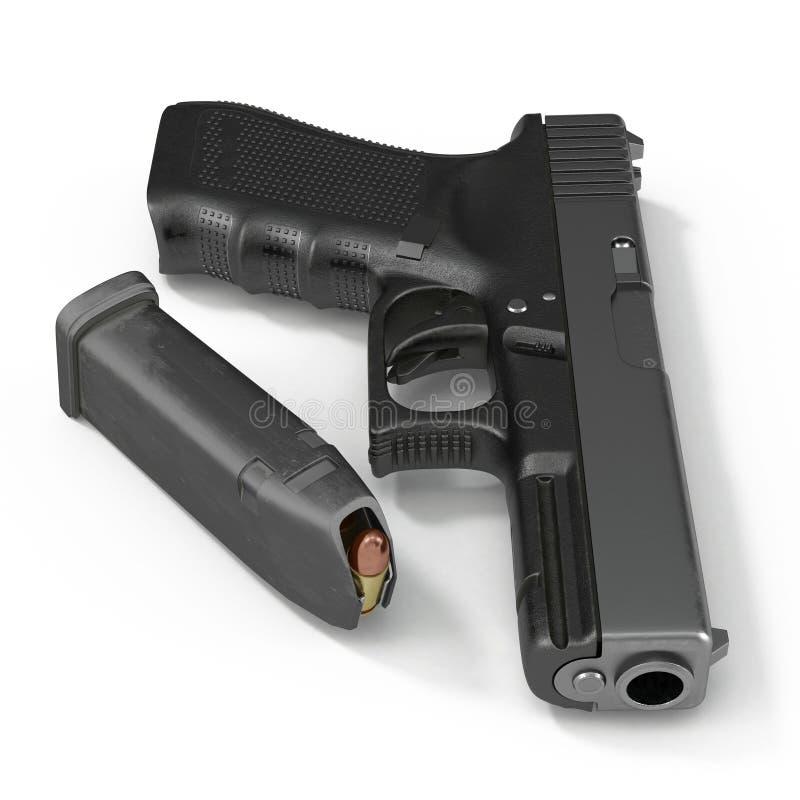 Pistola preta automática com munição no branco ilustração 3D ilustração royalty free
