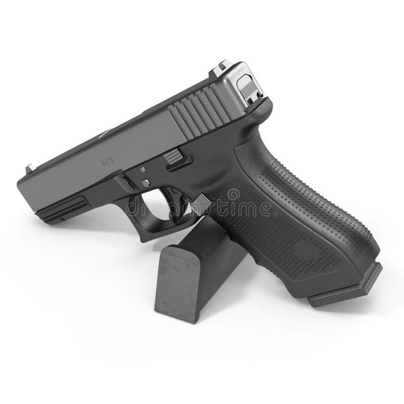 Pistola preta automática com munição no branco ilustração 3D ilustração stock