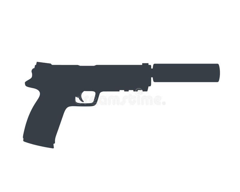 Pistola, revólver com silenciador, arma no branco ilustração do vetor