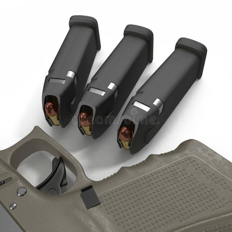 Pistola semi automática com compartimento e munição em um branco ilustração 3D ilustração stock