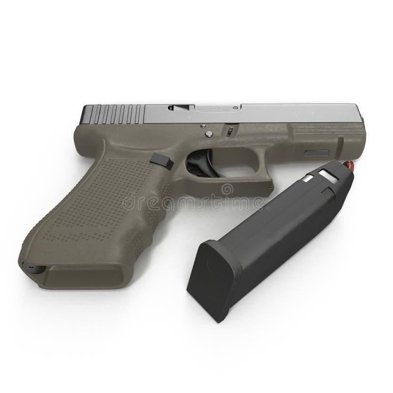 Pistola semi automática com compartimento e munição em um branco ilustração 3D ilustração do vetor