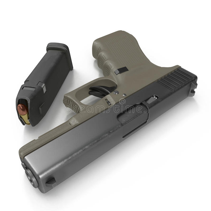 Pistola semi automática com compartimento e munição em um branco ilustração 3D ilustração royalty free