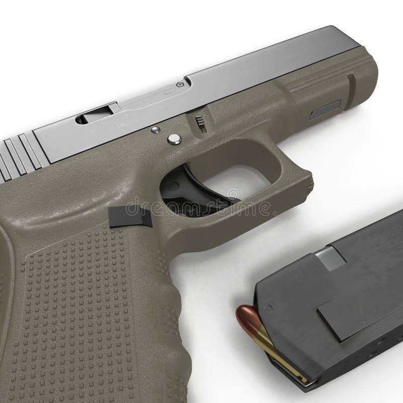 Pistola semi automática con la revista y la munición en un blanco ilustración 3D stock de ilustración