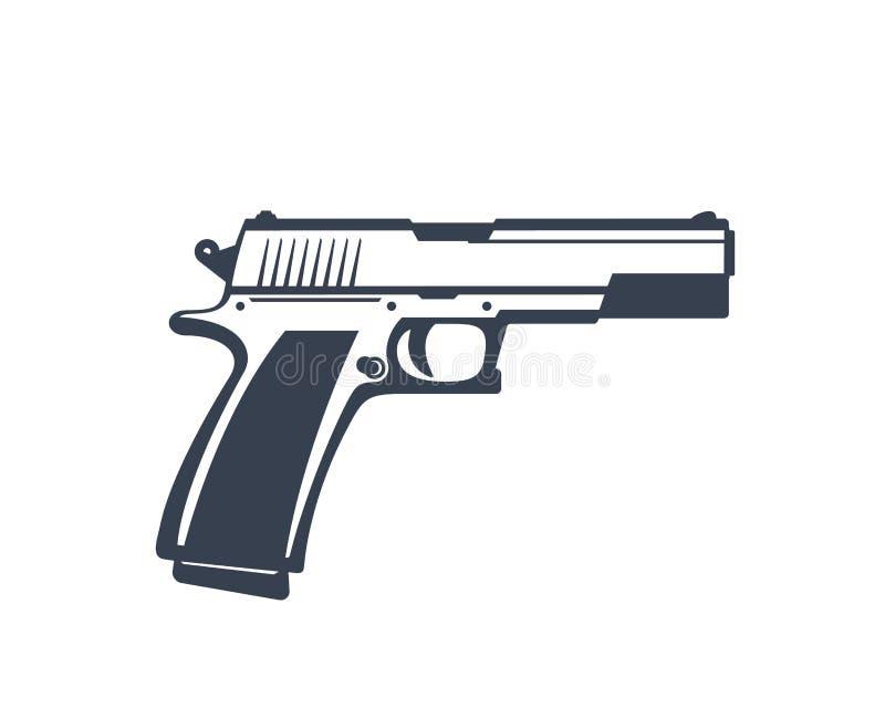 Pistola semiautomática, arma de mano aislada en blanco libre illustration