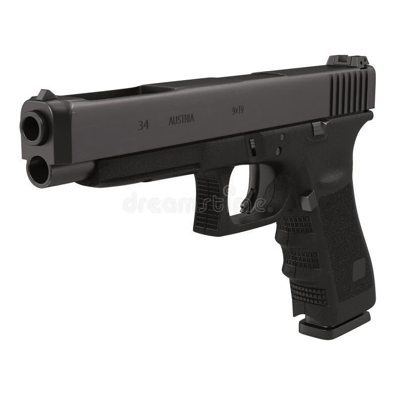 Pistola semiautomática en el ejemplo blanco 3D stock de ilustración