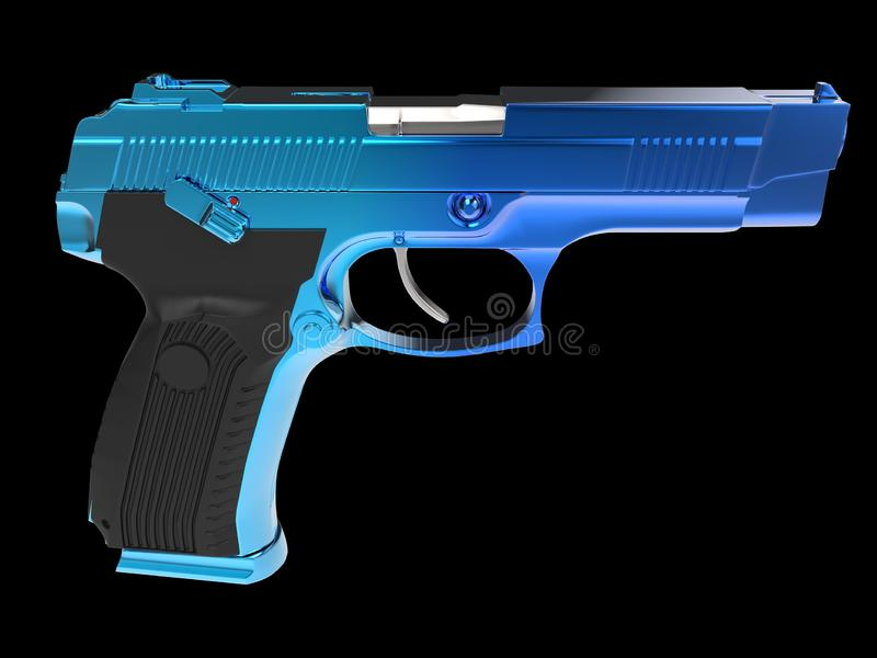 Pistola semiautom?tica moderna t?tica - revestimento azul do cromo ilustração royalty free