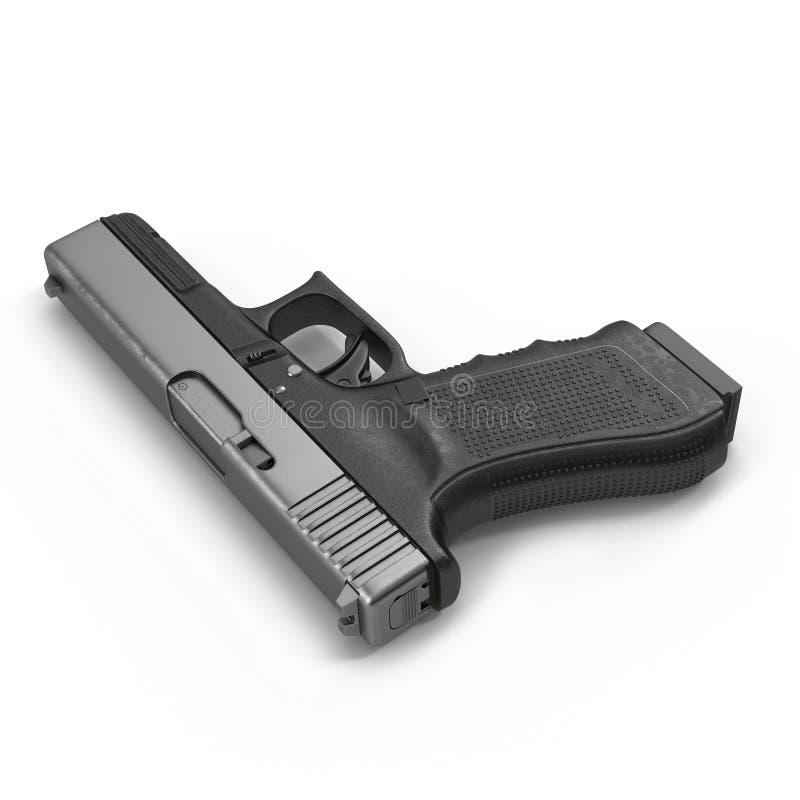 Pistola semiautomatica isolata su un bianco illustrazione 3D illustrazione vettoriale
