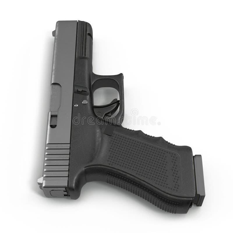 Pistola semiautomatica isolata su un bianco illustrazione 3D illustrazione di stock