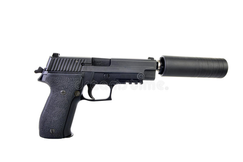 Pistola suprimida com o martelo armado pronto para atear fogo foto de stock royalty free