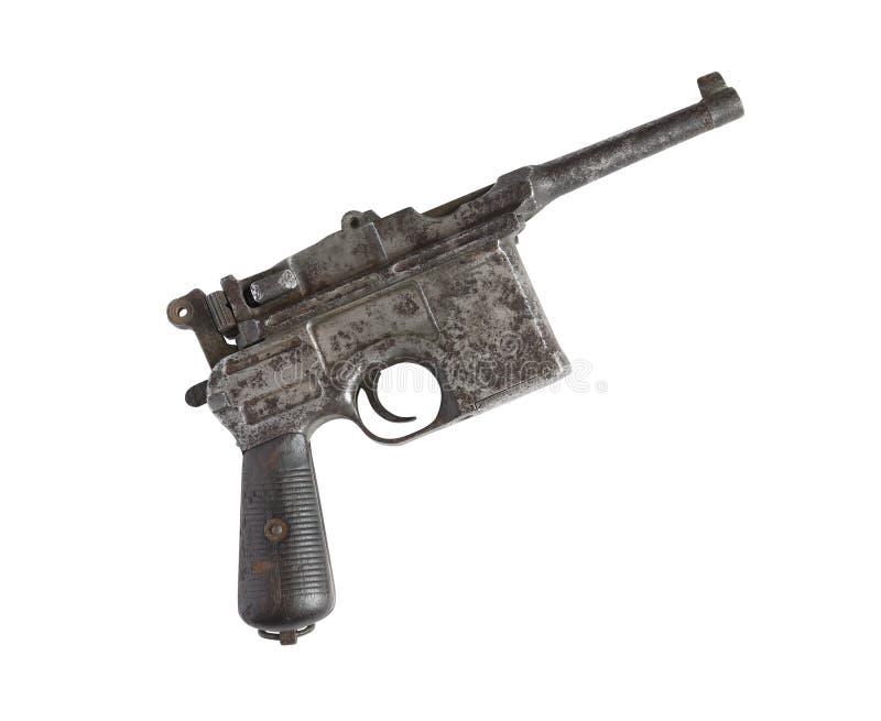 Pistola vieja en blanco fotografía de archivo