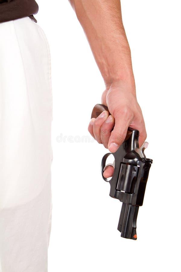Pistola violenta della tenuta dell'uomo immagine stock