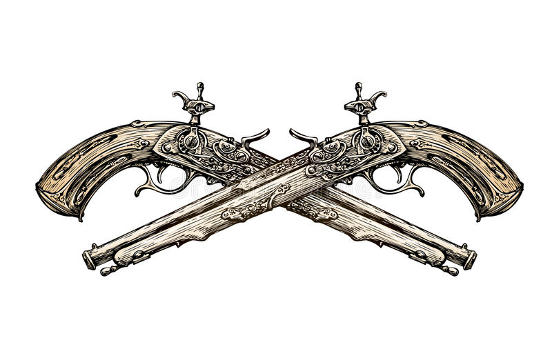 Pistolas cruzadas do vintage Arma antiga tirada mão do esboço duelo Ilustração do vetor ilustração stock