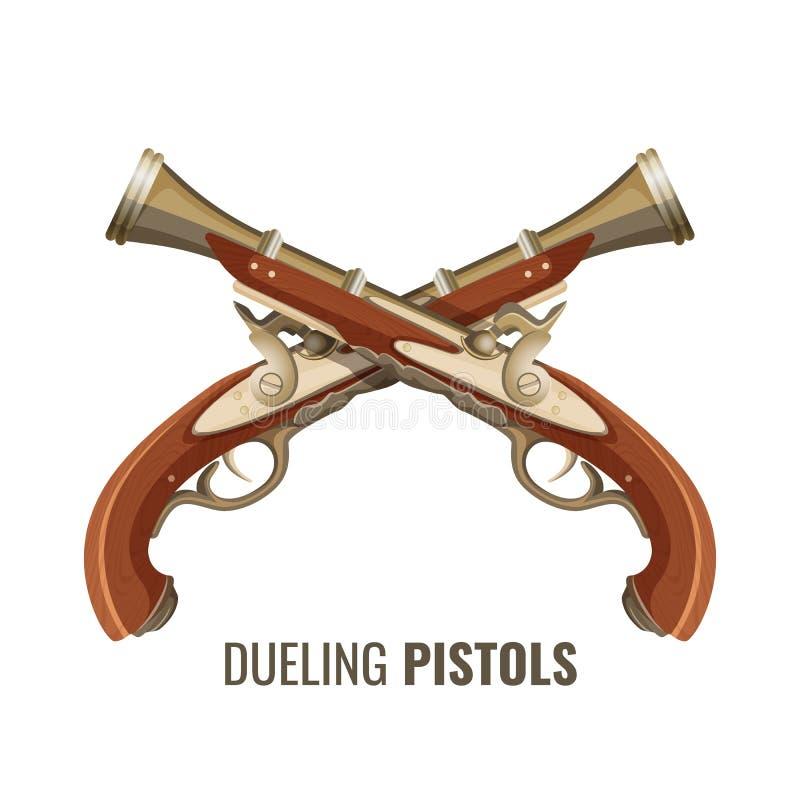 Pistolas de duelo com projeto luxuoso do vintage da madeira e do metal ilustração stock