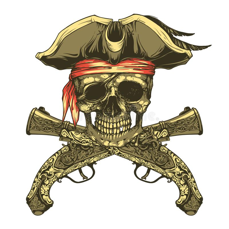 Pistolas do crânio e do vintage do pirata Roger alegre ilustração stock