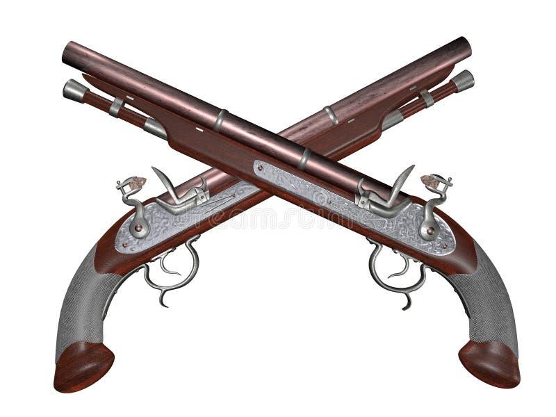 Pistolas dobles del fusil de chispa imagen de archivo libre de regalías