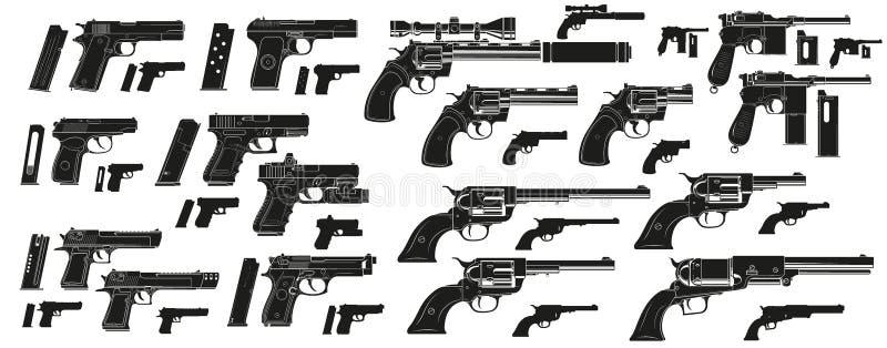 Pistolas e revólveres gráficos do revólver da silhueta ilustração royalty free