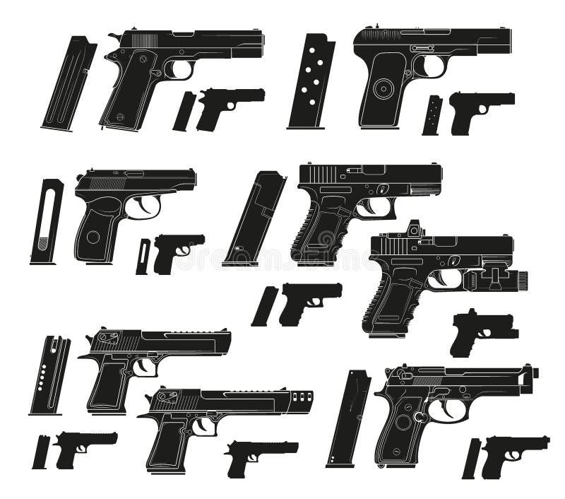Pistolas modernas do revólver da silhueta gráfica ilustração stock