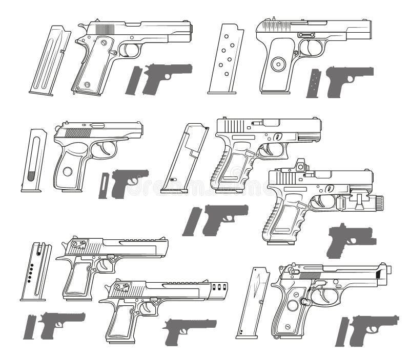 Pistolas modernas preto e branco gráficas do revólver ilustração do vetor