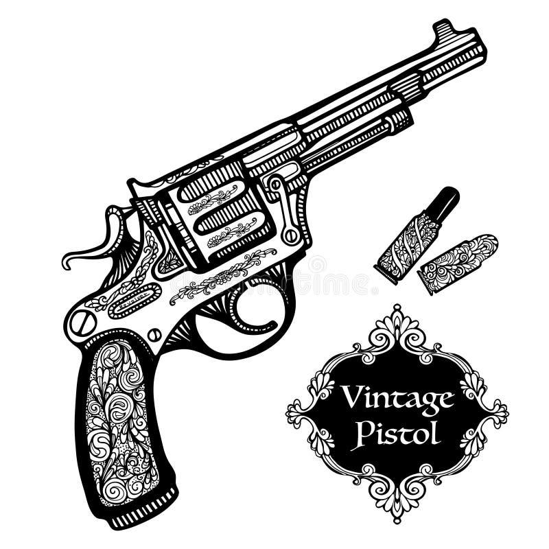 Pistolas retras dibujadas mano libre illustration