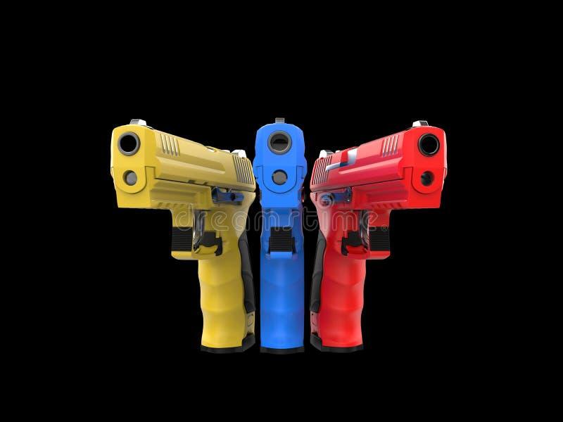 Pistolas semi automáticas vermelhas, azuis e amarelas modernas ilustração do vetor