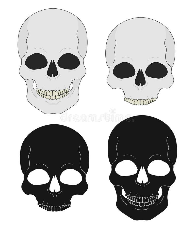 Pistolas y banderas del oeste salvajes del cráneo stock de ilustración