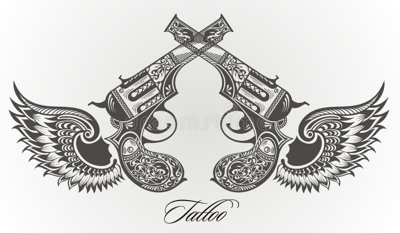 Pistole con progettazione del tatuaggio delle ali illustrazione vettoriale