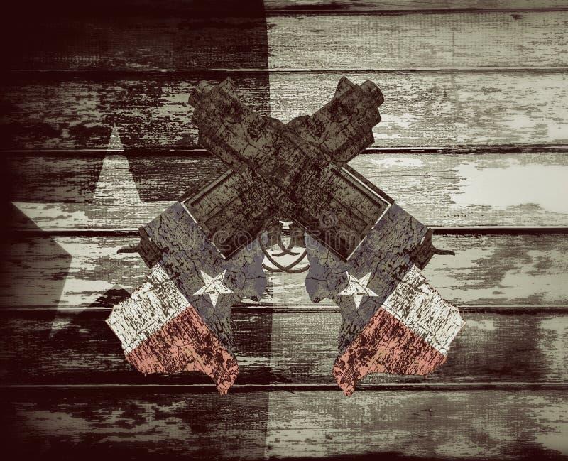 Pistole del Texas su fondo dipinto di legno illustrazione di stock