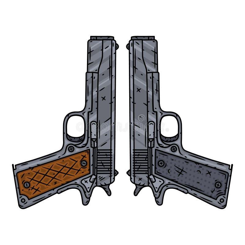 Pistole di vettore isolate di fondo bianco Illustrazione di vettore illustrazione vettoriale