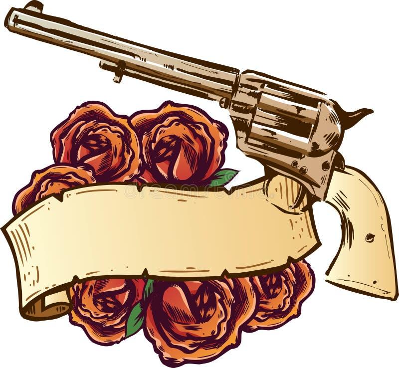 Pistole e rose con l'illustrazione della bandiera illustrazione vettoriale
