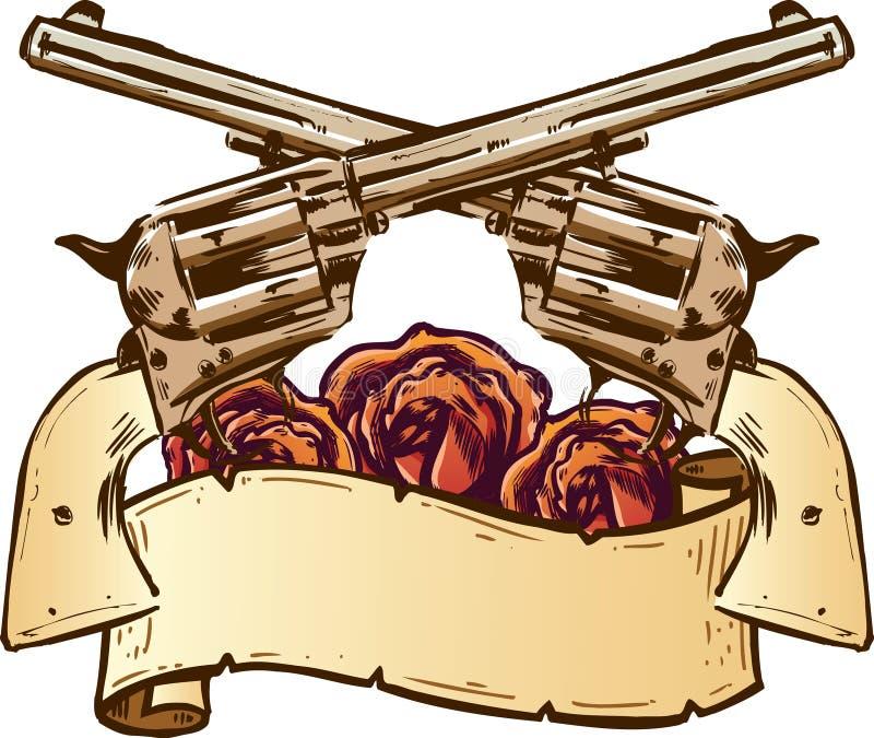 Pistole e rose con l'illustrazione della bandiera illustrazione di stock