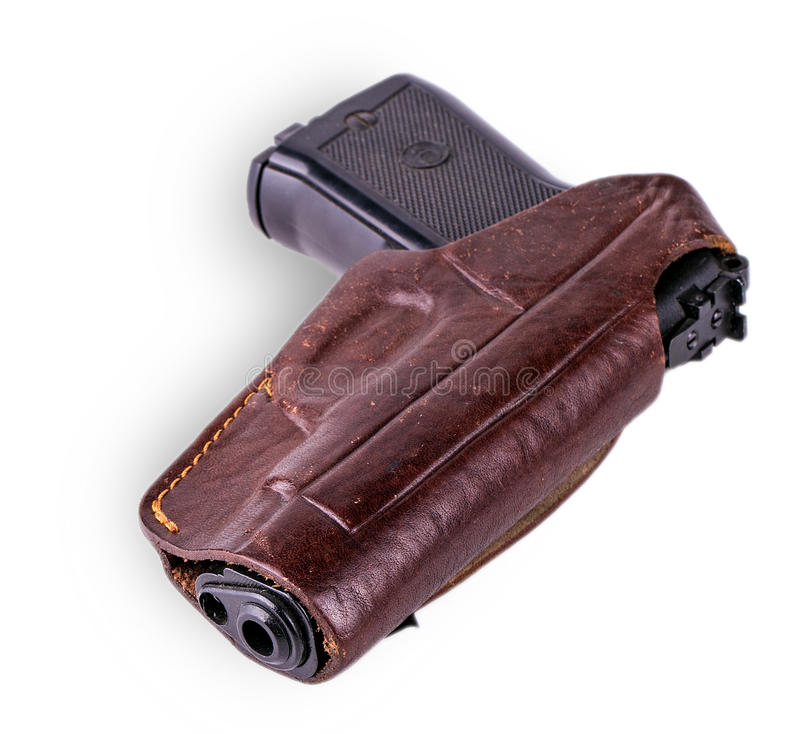 Pistole im Pistolenhalfter lokalisiert auf Weiß stockfoto