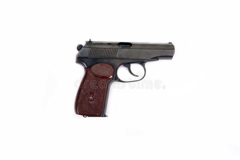 Pistolen-Makarow-Kugeln befestigen lokalisierten alten Sowjet des braunen schwarzen Sternes des Griffs gesetzter weißer Hintergru stockbild