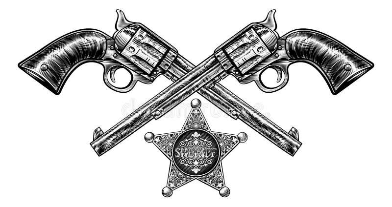 Pistolen met Sheriff Star Badge vector illustratie