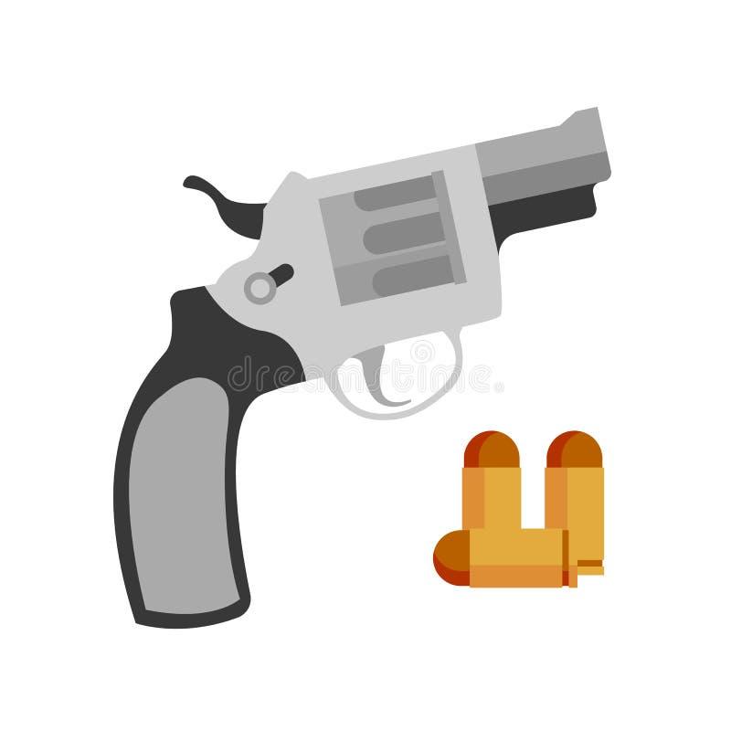 Pistolen-Revolver Nagant und Pistolen-Kugel-Vektor lizenzfreie abbildung
