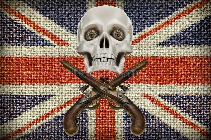 Pistolen und Modell des Schädels auf Hintergrund der britischen Flagge stockfotos
